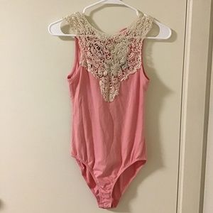 Lace Bodysuit Pink and Cream